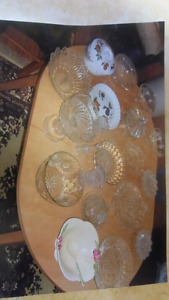 Antique glass and crystal plates and dishes