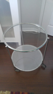 LINNMON / ADILS Table + Glass Table on Wheels