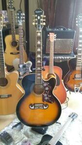 Superbe guitare EPIPHONE acoustique-électrique EJ-200, SE-VS