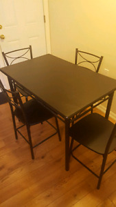 All Black Kitchen Table Set + 4 Chair