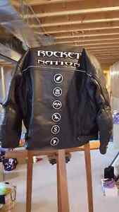 Leather motorcycle jacket. Large