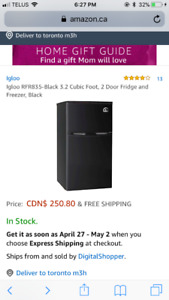 Black 2-door Mini-Fridge (3.2 cubic feet)