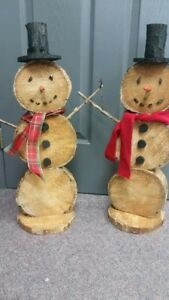 RUSTIC CHRISTMAS DECORATIONS - Wooden Snowmen