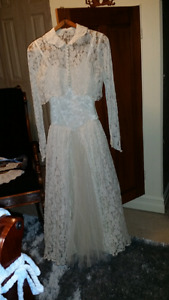 Vintage satin & lace wedding gown dress