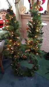 Christmas porch trees and wreath pre lit