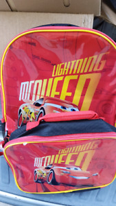 Pixar Cars 3 Lightning McQueen Lunch Bag And Backpack Combo NEW