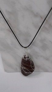 Wire Wrapped Ocean Tumbled Beach Stone Necklace, Pendants