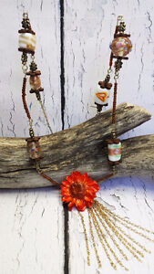 Real Daisy Necklace ~ Beaded Statement Necklace ~ Boho, Natural