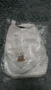 White stripe backpacks/bags with bear, new