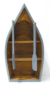 Blue Wooden Boat-shaped Curio or Wall Shelf with Paddles