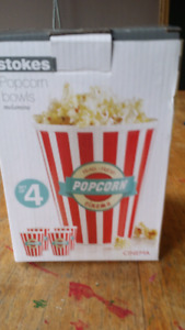 4  BRAND NEW POPCORN CONTAINERS
