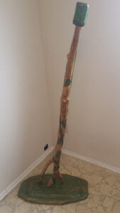 Hand carved wood microphone and stand
