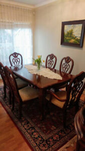 Dining set: table, 6 chairs and china cabinet