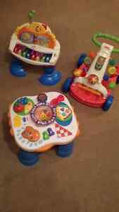 Fisher price baby / toddler toys: piano, musical food, push cart
