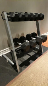 Set Rubber Hex Dumbbells 10lbs to 30lbs + Rack Stand weights