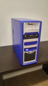 Blue case with psu and disk drive