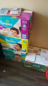 Boy Clothes and Diapers (size 1)