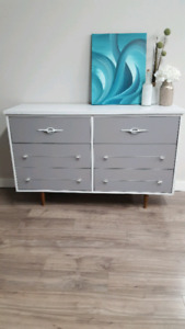 Beautiful Refinished Vintage Dresser And Hand Painted Artwork