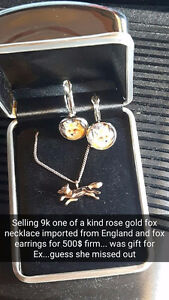 Real 9k one of a kind rose gold fox necklace with fox earrings