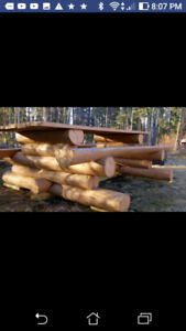 Log hand scribes picnic table