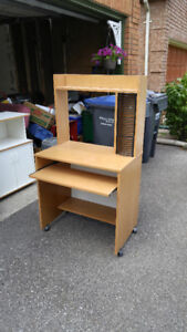 Office Desk With Wheels & CD Rack + Chair with Chairpad