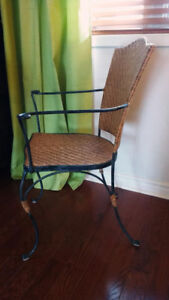 FOUR WROUGHT IRON & WOVEN TAN CHAIRS IN FABULOUS CONDITION