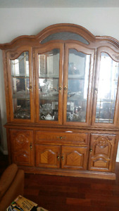 Antique SOLID OAK china/display cabinet