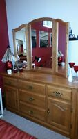 Solid Oak Dresser with Trifold Mirror