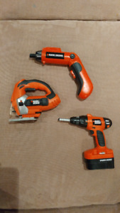 Toy power tools Black and Decker