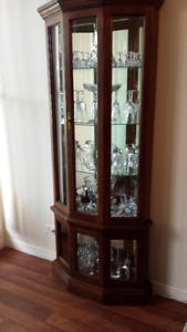 FRUITWOOD DISPLAY CABINET WITH LIGHTS