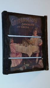 VERY RARE GHIRARDELLI'S ANTIQUE WOODEN SIGN;