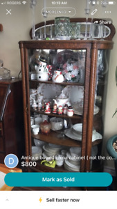 antique bowed china cabinet
