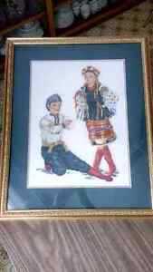 REDUCED !!! Needlepoint picture of Ukrainian Dancers