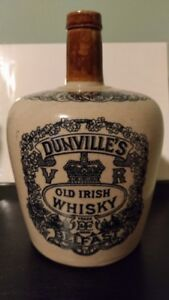DUNVILLE'S OLD IRISH WHISKY BELFAST antique pottery bottle. RARE