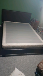 Queen size padded chestnut brown bed frame