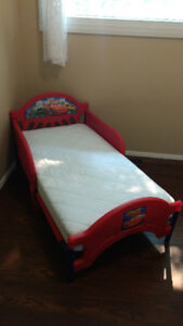 Cars toddler bed and Brand New crib size mattress