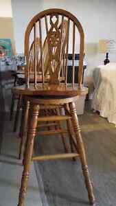 Solid Oak swivel stools Peterborough Peterborough Area image 1