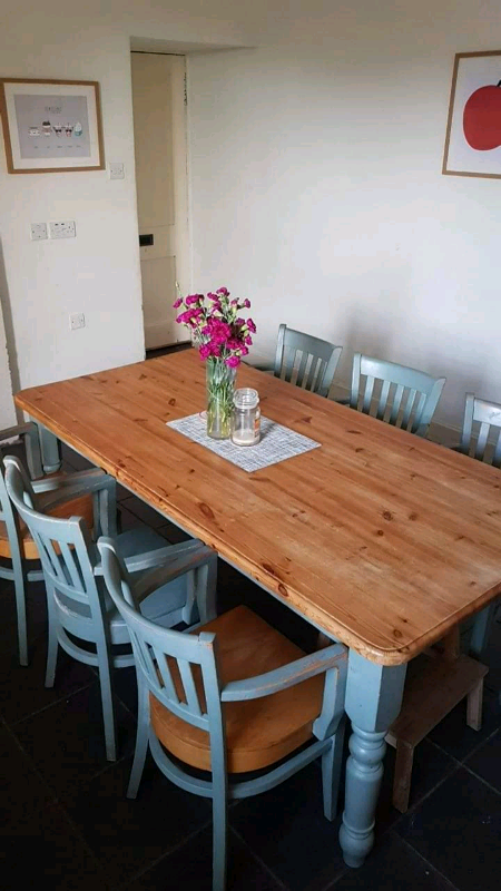 8 seater farmhouse kitchen table and chairs  in
