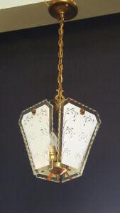 Rare Erwin Burger Art Glass Light Fixture Hang Light Lamp Lanter