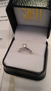 .057 CT 14 karat white gold diamond ring 6.5