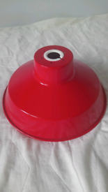 Red metal ceiling lamp shade vgc