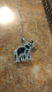 925 Lucky Silver Elephant necklace, Silver chain, rhinestones