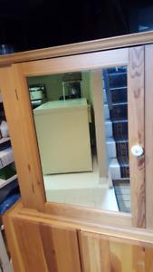 pine cabinet with mirror door