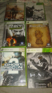 6 xbox 360 games and a 360 headset.