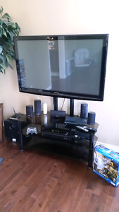 "50"" plasma TV and ps3 and 500 watt sound system"