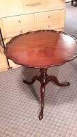 VINTAGE SOLID WOOD ROUND  TABLE MADE BY HESPELER FURNITURE CO.