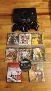 PS3 12Go with 3 controllers and 9 games
