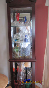 curio cabinet, art/murano/chalet/crystal glass