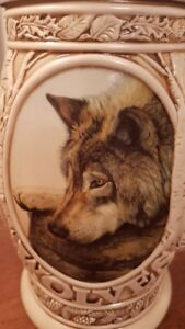 Stein Wolf Brazilian Ceramic Hand painted $40