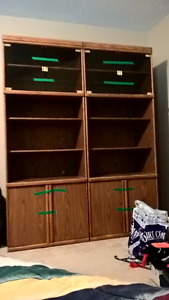 2 bookcases with upper glass doors ($25 each)